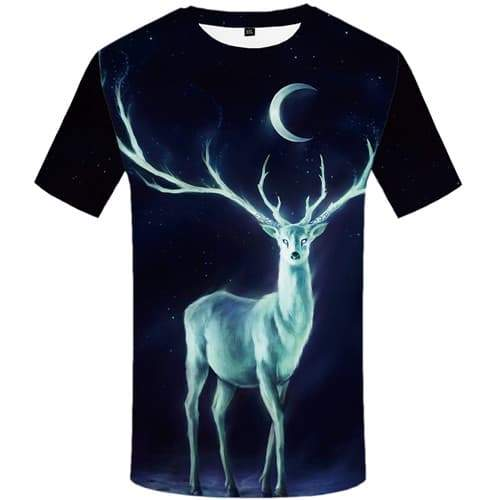 Deer T shirts Men Galaxy Space Tshirts Casual Moon T-shirts Graphic Animal Tshirts Cool Black Tshirt Printed Short Sleeve - KYKU