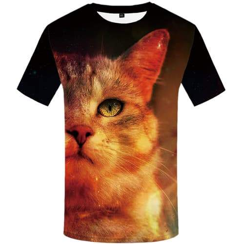 Cat T shirts Men Animal Tshirts Cool Harajuku Tshirts Casual Space T-shirts 3d Short Sleeve Punk Rock Mens Tops O-neck Big Size - KYKU