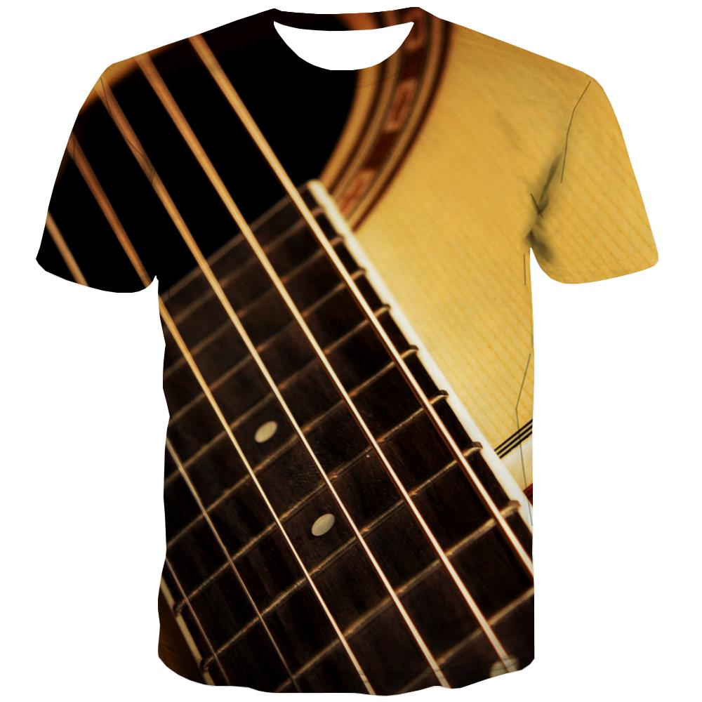 Guitar T-shirt Men Music Tshirts Casual Wooden T shirts Funny Metal Tshirt Printed