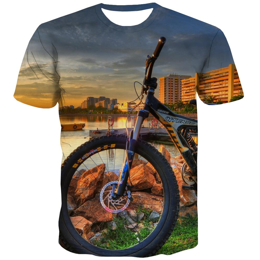 Bicycle T shirts Men Metal Tshirts Cool City T-shirts 3d Psychedelic Tshirt Printed