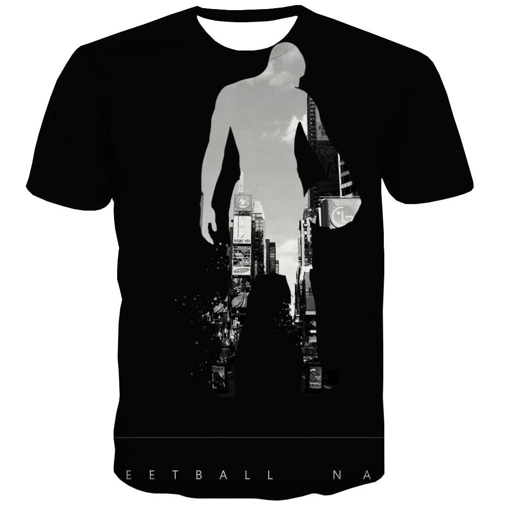 Basketball T shirts Men Night View T shirts Funny Galaxy Tshirt Printed City T-shirts 3d