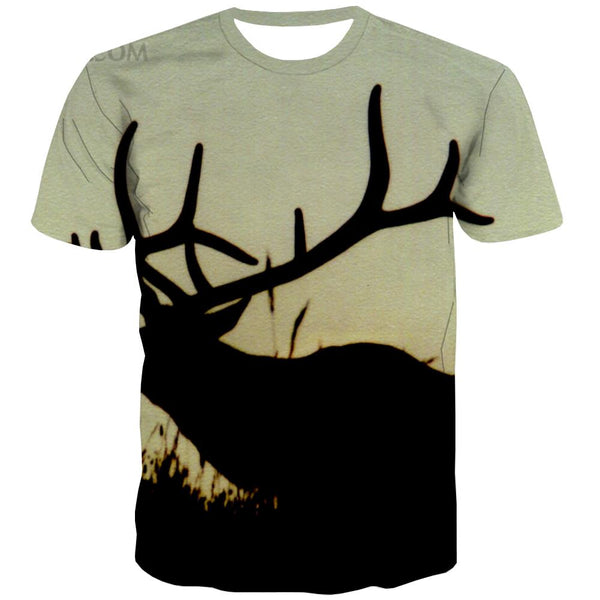 Hunting T shirts Men Jungle T-shirts Graphic Deer Tshirts Cool Shooter Tshirt Anime Camouflage Shirt Print