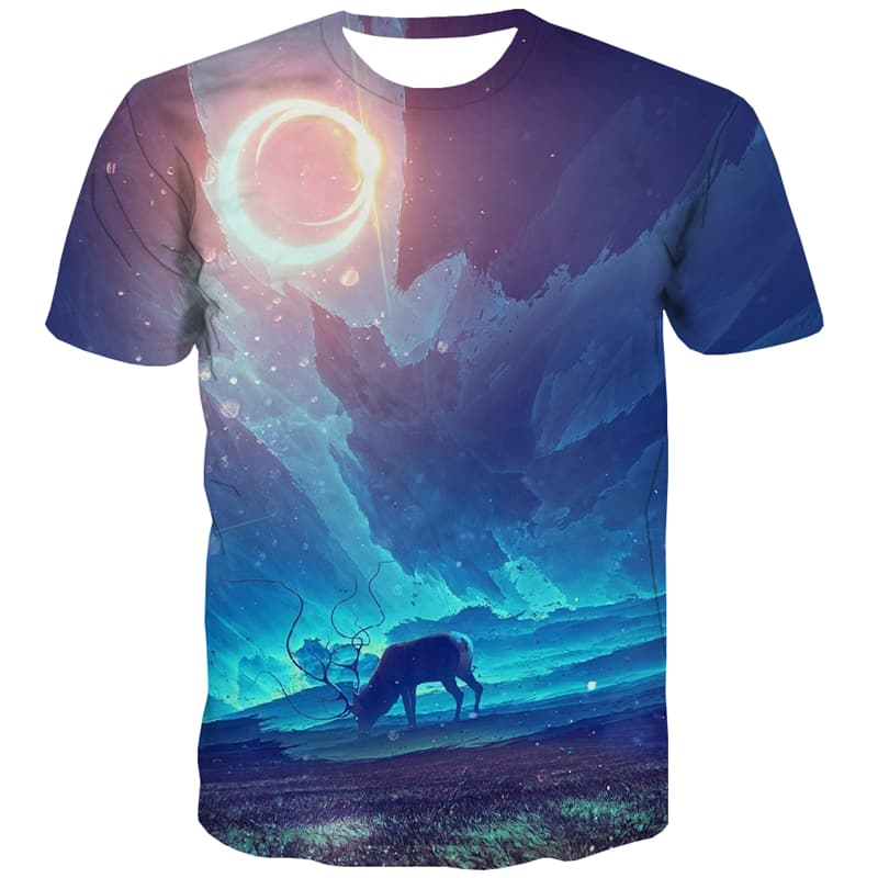 Animal T shirts Men Deer Shirt Print Moon Tshirts Novelty Aurora T-shirts 3d
