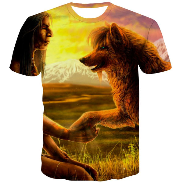 Indians T shirts Men Grassland Tshirts Cool Sunset Tshirt Anime War T-shirts Graphic