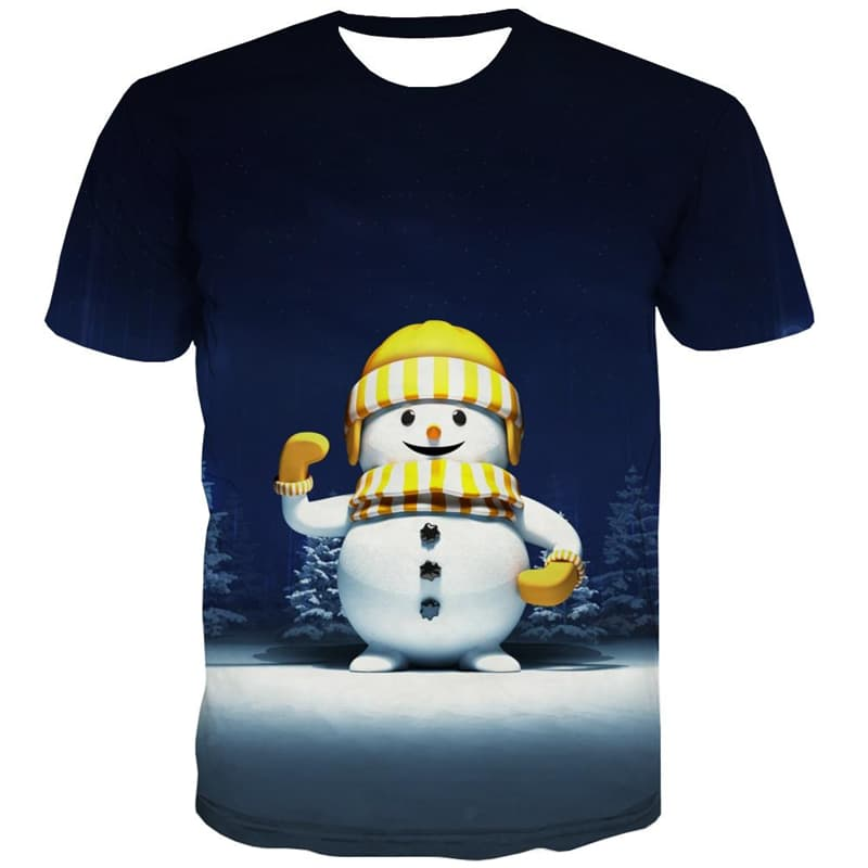 Christmas T shirts Men Snow T-shirts Graphic Party Tshirts Novelty Lovely Shirt Print