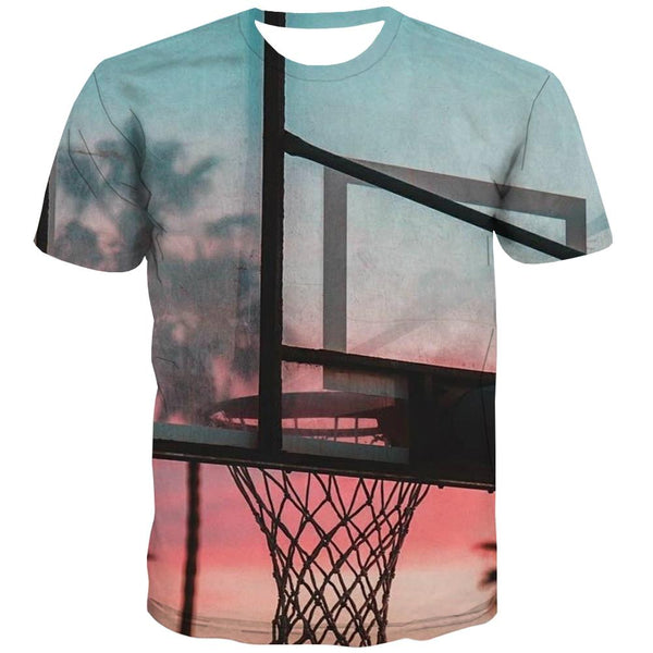 Basketball T shirts Men Night View T-shirts Graphic Galaxy Tshirts Novelty City T shirts Funny