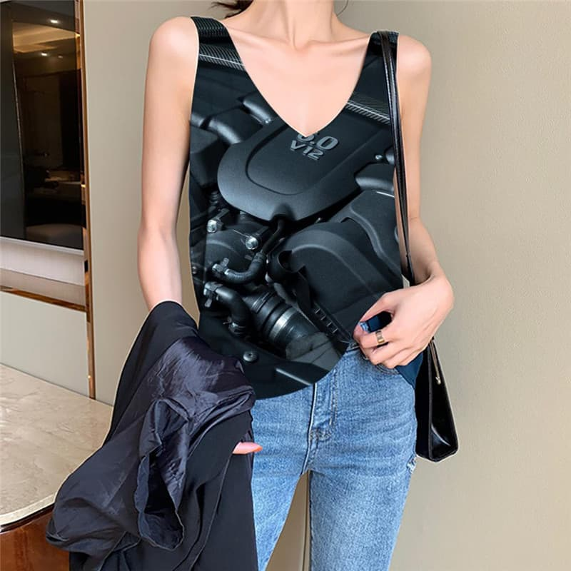 Metal Tank-Top women Engine Sleeveless 3d Gear Vest Print Engine Anime Clothes Hip Hop Funny Top