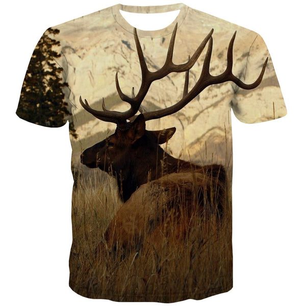 Hunting T-shirt Men Jungle T shirts Funny Deer T-shirts Graphic Shooter Tshirts Cool Camouflage Shirt Print