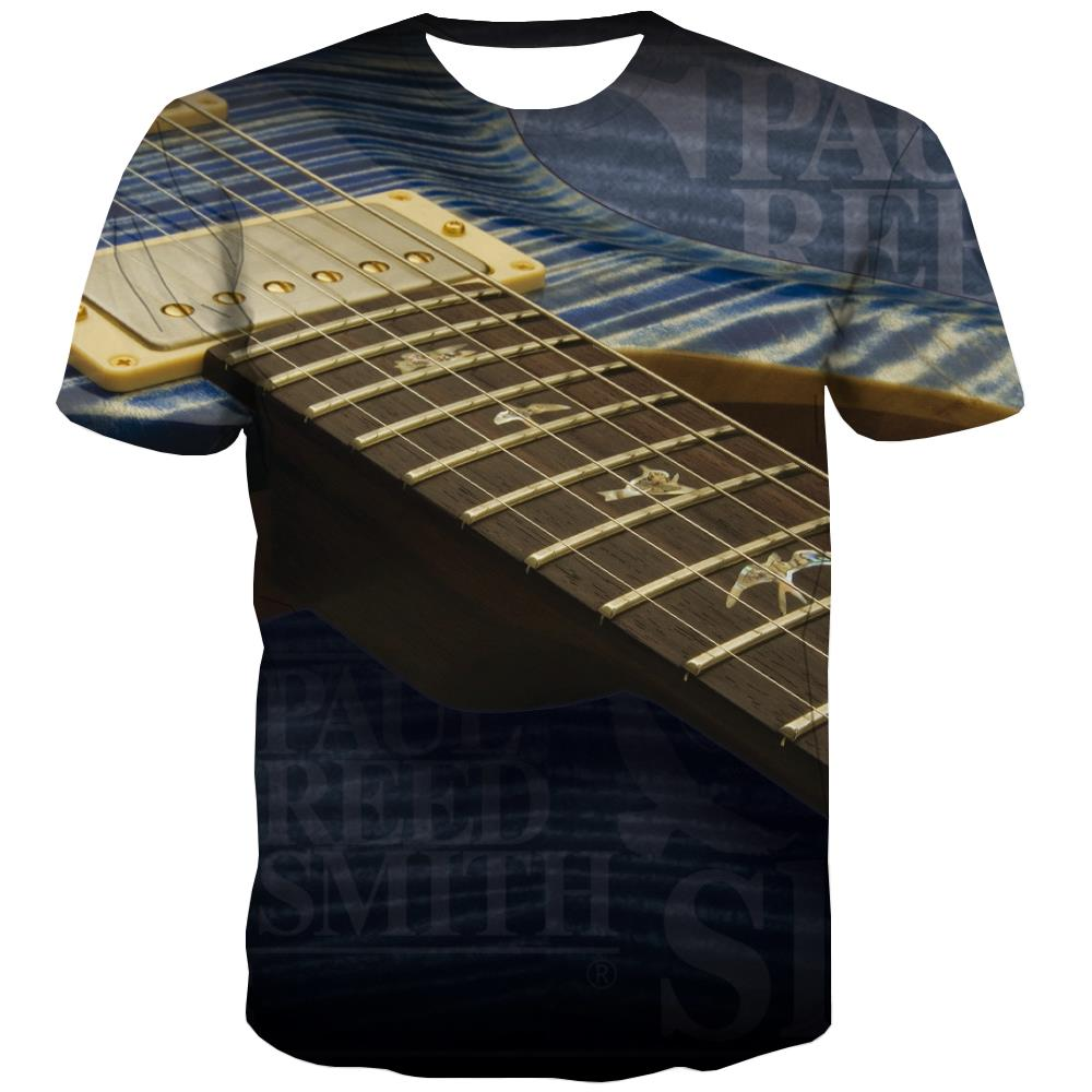 Guitar T-shirt Men Music T-shirts Graphic Wooden Tshirts Novelty Metal T-shirts 3d