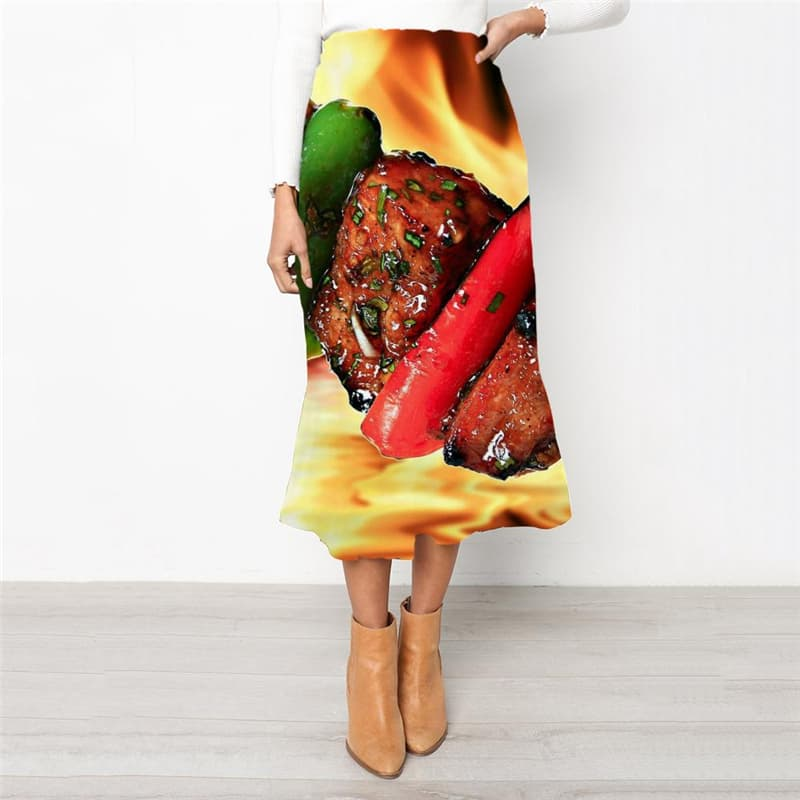 Flame Skirts Women Food High waist skirts Novel Skirt Ladies Womens Clothing