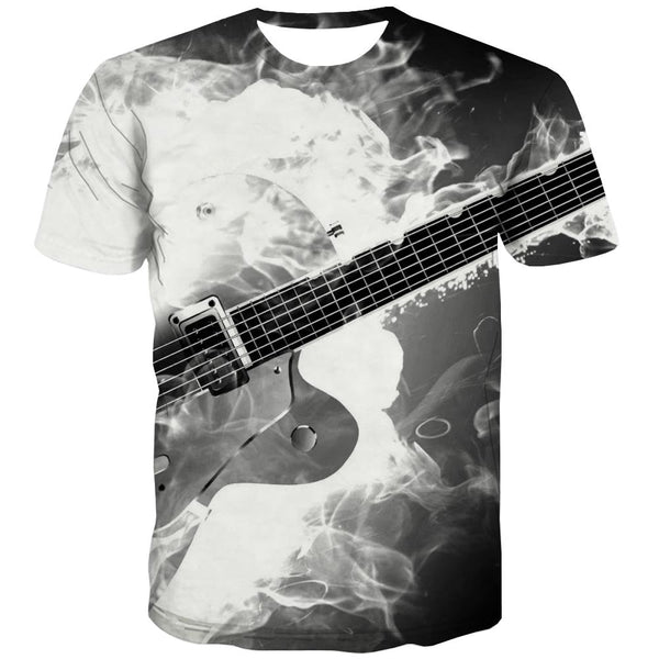 Guitar T shirts Men Music Tshirts Novelty Wooden Shirt Print Metal Tshirts Cool