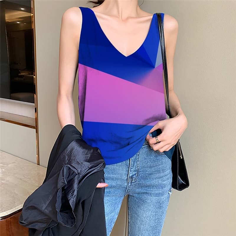 Cube Tank Top Women Colorful Anime Clothes Abstract Vest Print Womens Clothing