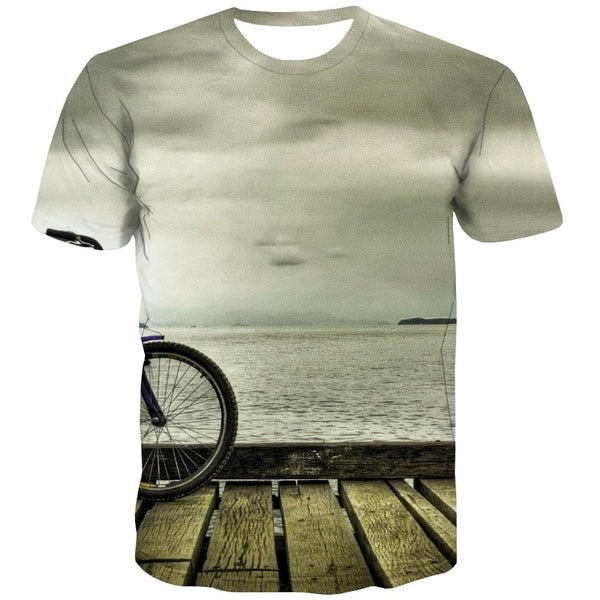 Bicycle T-shirt Men Metal T shirts Funny City Tshirt Printed Psychedelic T-shirts Graphic