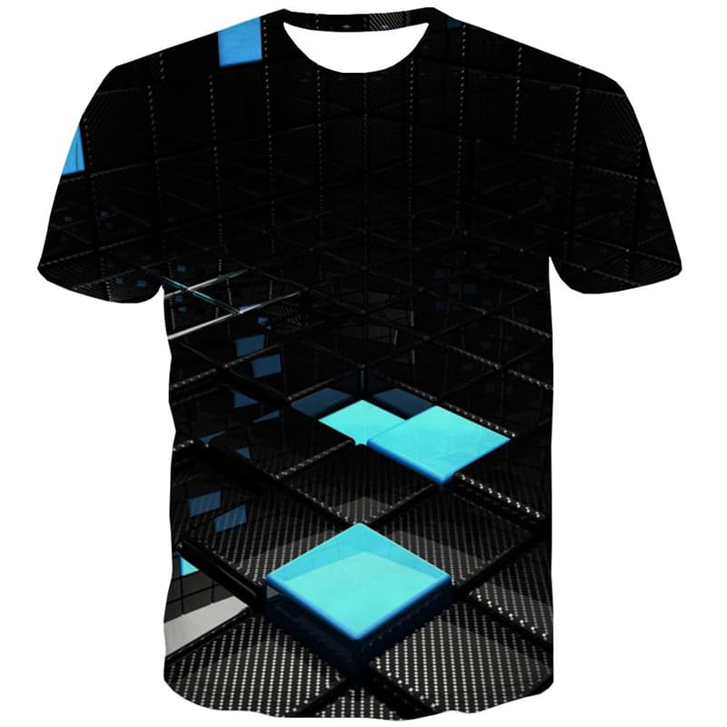 Cube T-shirt Men Geometry T shirts Funny Abstract Tshirts Cool Technology T-shirts 3d