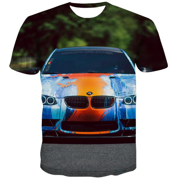 Racing Car T-shirt Men Metal Tshirts Casual City T-shirts Graphic Gray T-shirts 3d Retro Tshirts Cool