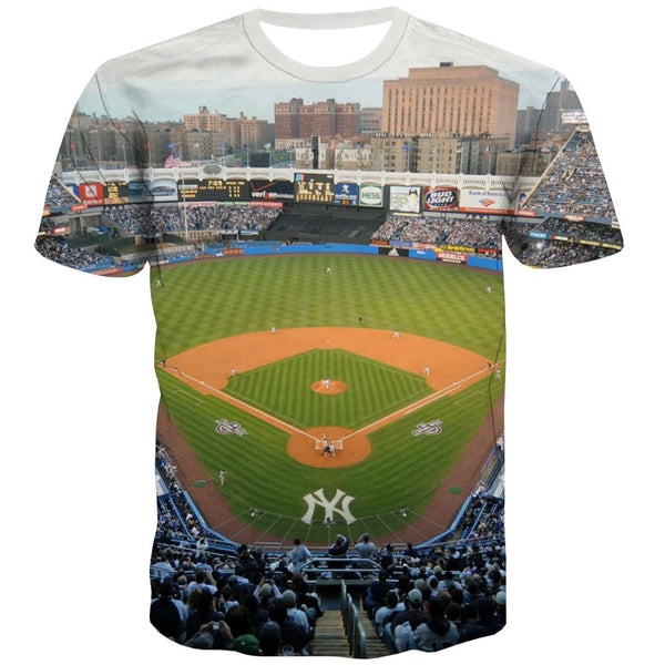Baseball T-shirt Men Stadium Tshirts Novelty Game Shirt Print White T-shirts 3d