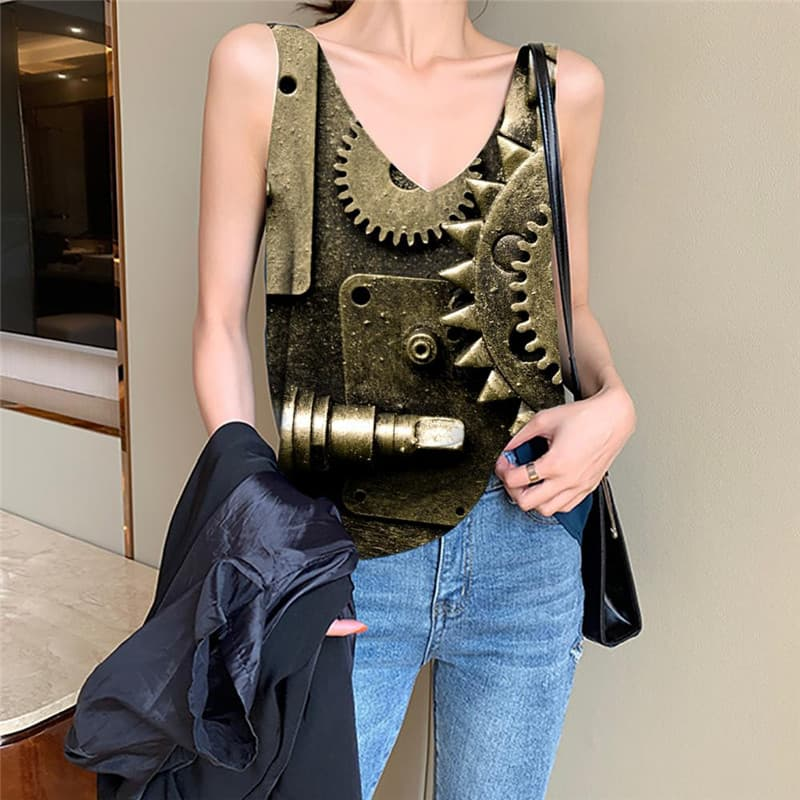Metal Tank Top Women Engine Funny Top Gear Vest Printed Paint Tank Tops Casual