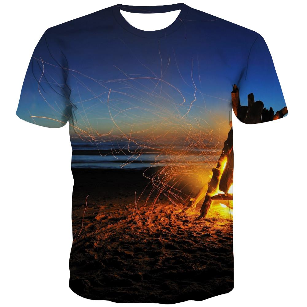 Camping T shirts Men Sunset T-shirts Graphic Forest T-shirts 3d Flame T shirts Funny