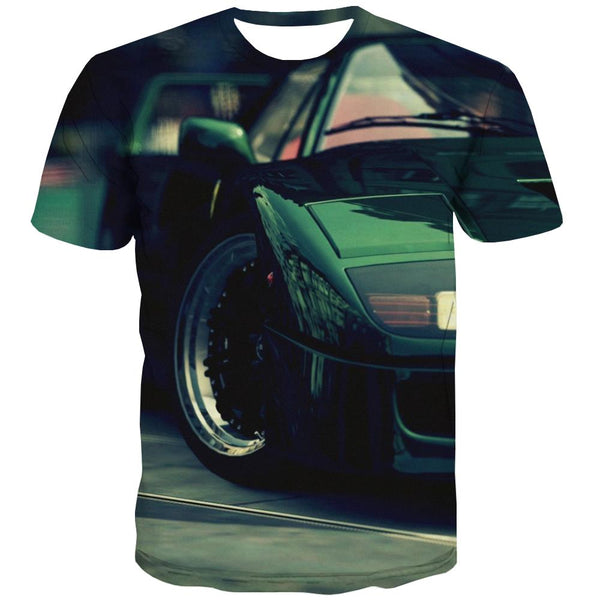 Racing Car T-shirt Men Metal Tshirt Anime City T-shirts 3d Gray Tshirts Cool Retro T-shirts Graphic