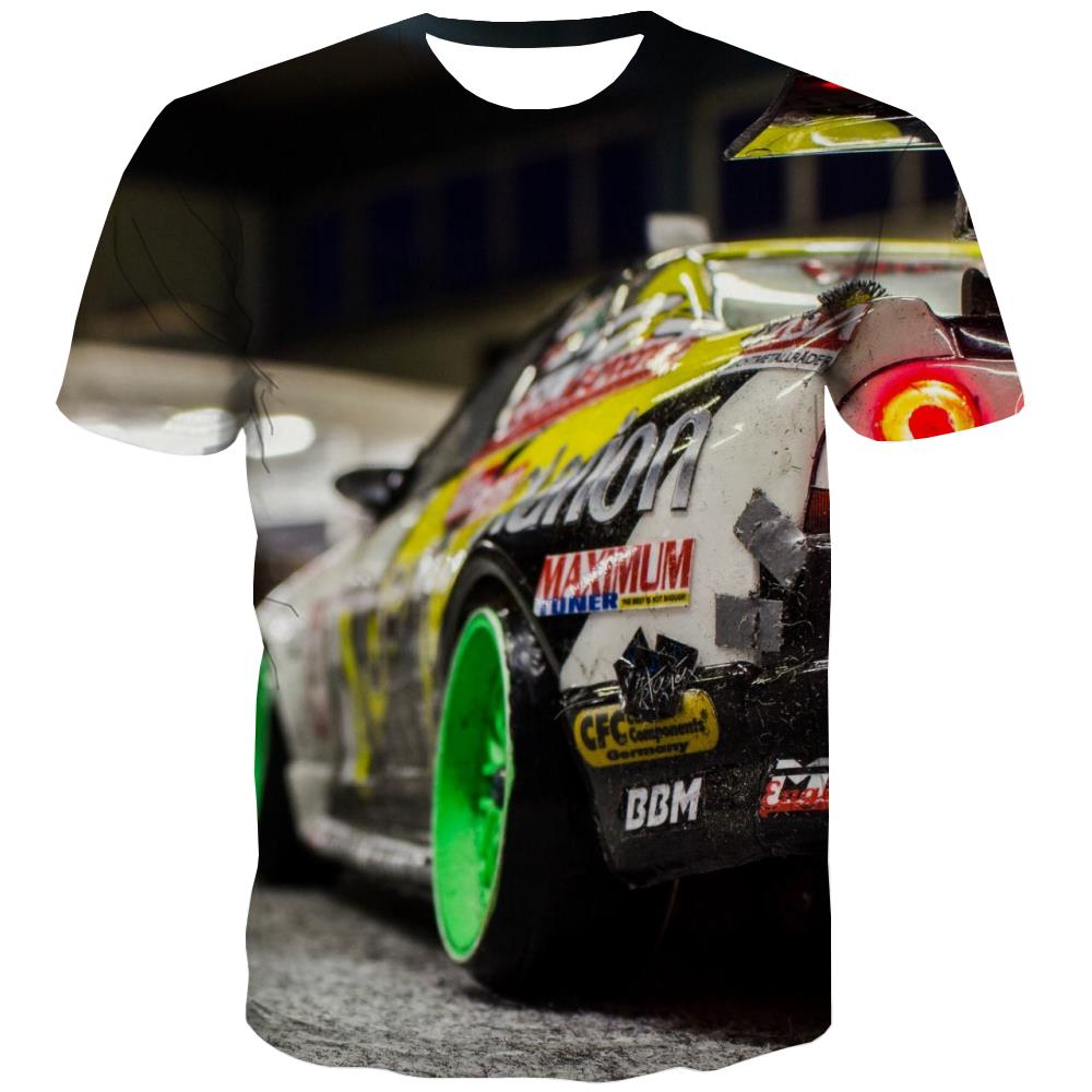 Racing Car T shirts Men Metal Tshirts Cool City T-shirts Graphic Gray Tshirts Casual Retro Shirt Print