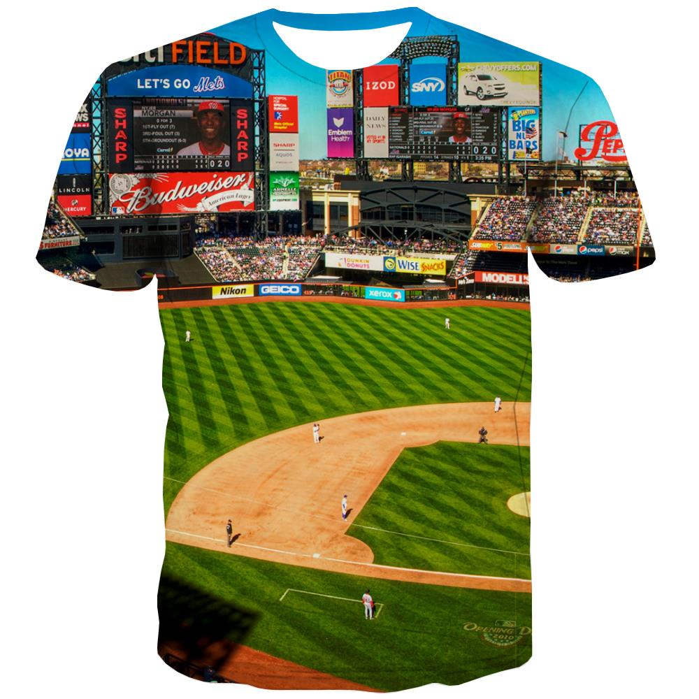 Baseball T shirts Men Stadium Tshirts Novelty Game T-shirts 3d White T-shirts Graphic