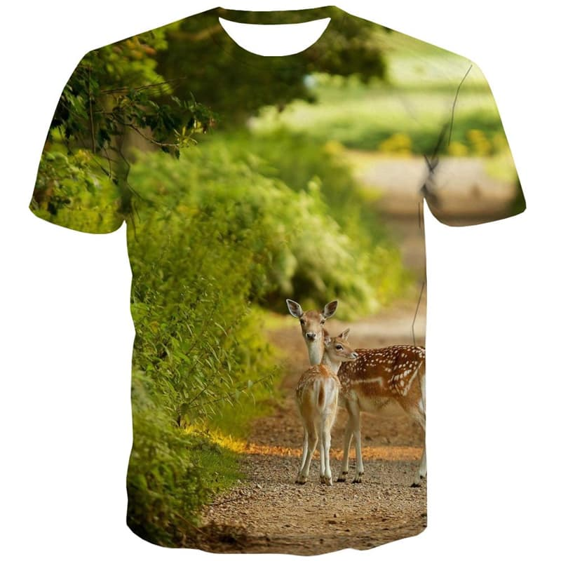 Deer T-shirt Men Animal Tshirt Printed Lovely Tshirts Cool Forest T-shirts 3d