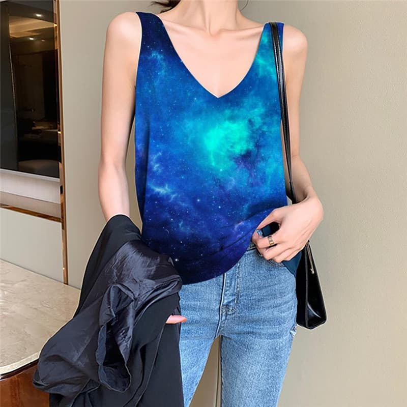 Galaxy Tank-Top women Space Anime Clothes Universe Sleeveless 3d Womens Clothing