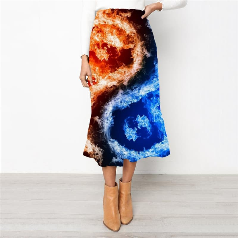 Flame Skirt Women Yinyang Rock Frauen Funny High waist skirts Womens Clothing