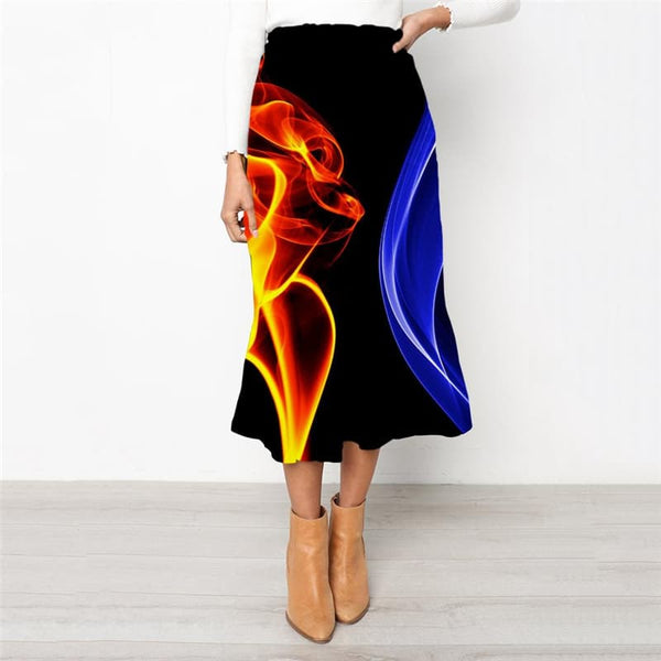Red Flame Skirts Women Blue Flame School skirt Party Skirt Ladies