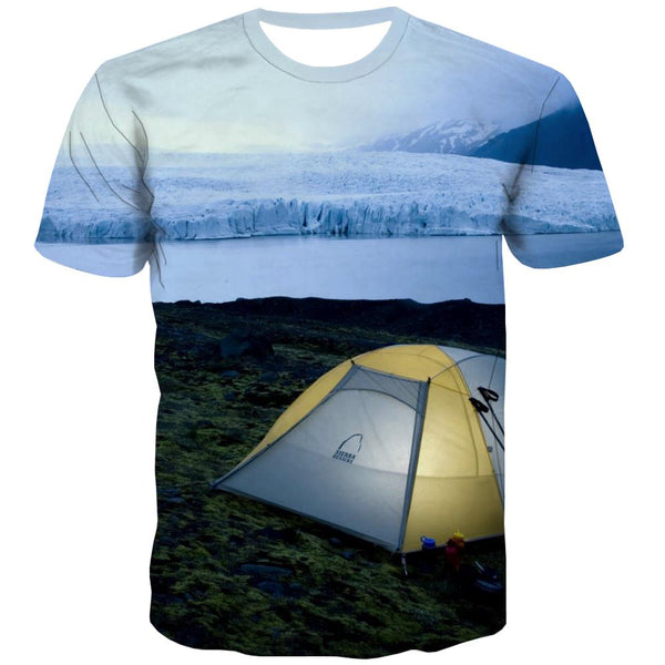 Camping T shirts Men Sunset Tshirt Anime Forest T-shirts Graphic Flame T-shirts 3d
