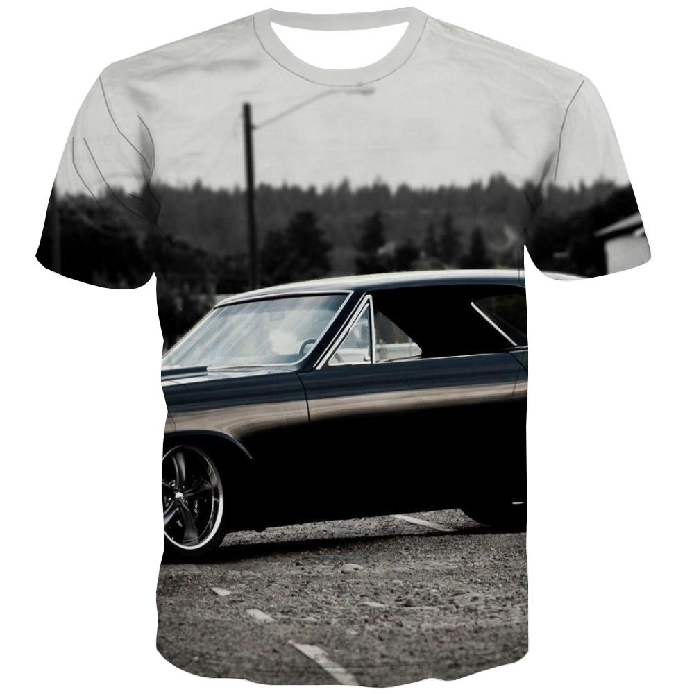 Racing Car T shirts Men Metal T-shirts Graphic City T-shirts 3d Gray Tshirts Cool Retro Tshirts Novelty