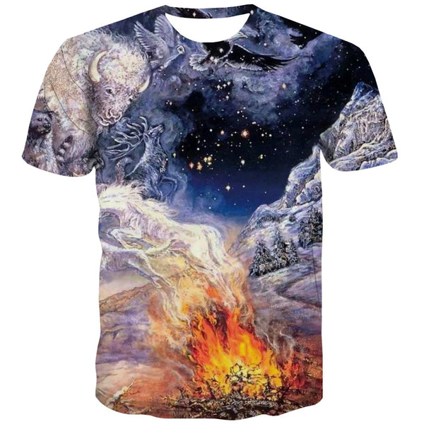 Indians T-shirt Men Grassland Tshirts Casual Sunset Tshirts Cool War Tshirt Printed