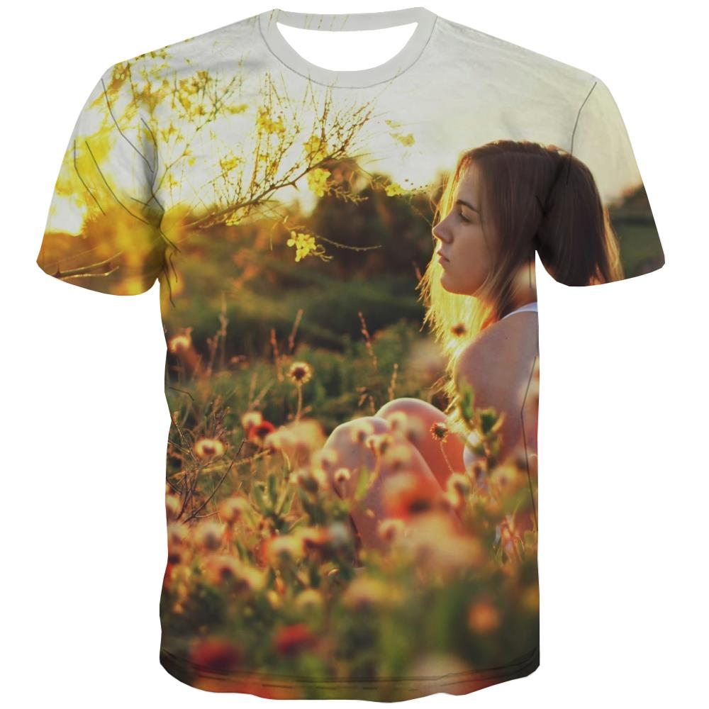 Camping T-shirt Men Sunset Tshirt Printed Forest Tshirts Novelty Flame T shirts Funny