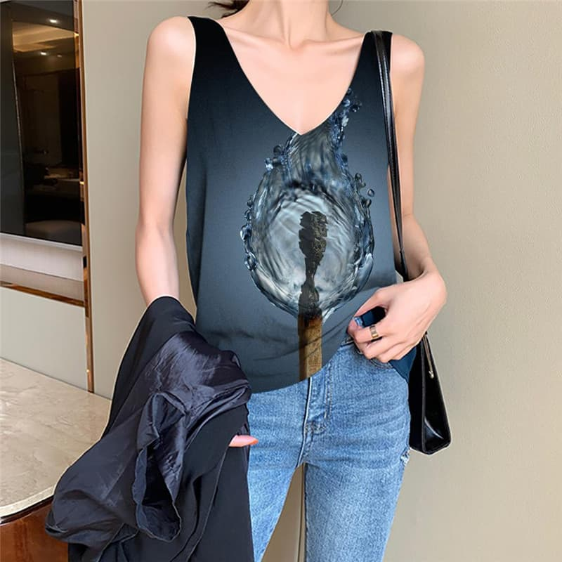Flame Tank Top Women Water Vest Printed Matches Vest Print Womens Clothing