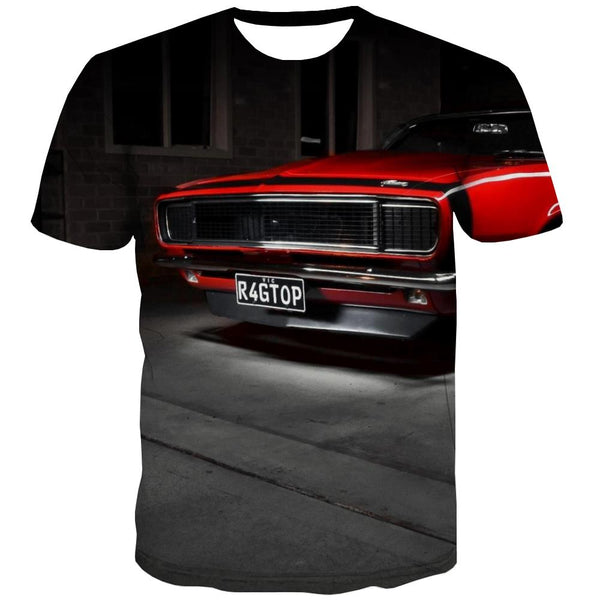 Racing Car T shirts Men Metal Shirt Print City Tshirts Novelty Gray Tshirt Printed Retro T-shirts 3d