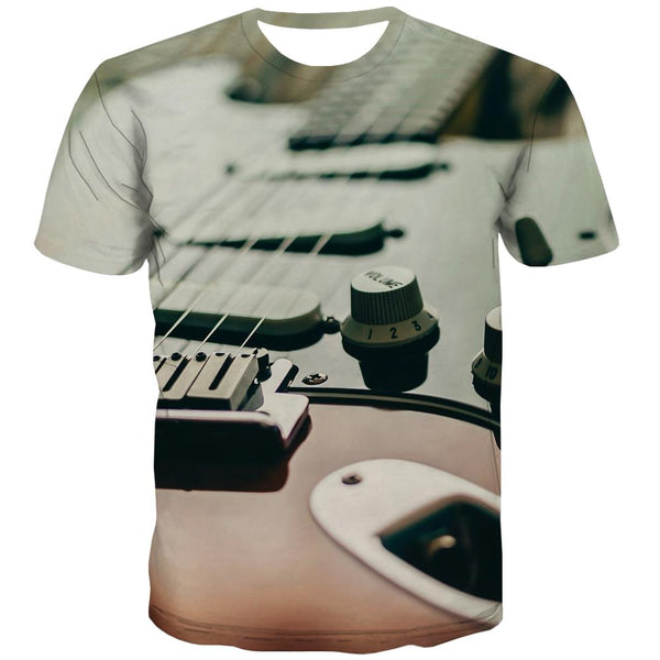 Guitar T shirts Men Music Tshirt Printed Wooden T-shirts 3d Metal Tshirt Anime