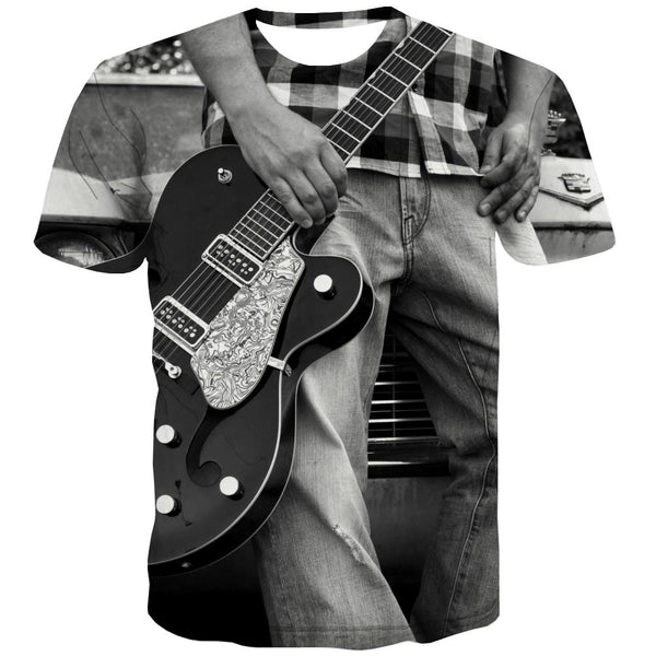 Guitar T-shirt Men Music T shirts Funny Wooden T-shirts Graphic Metal Tshirts Novelty