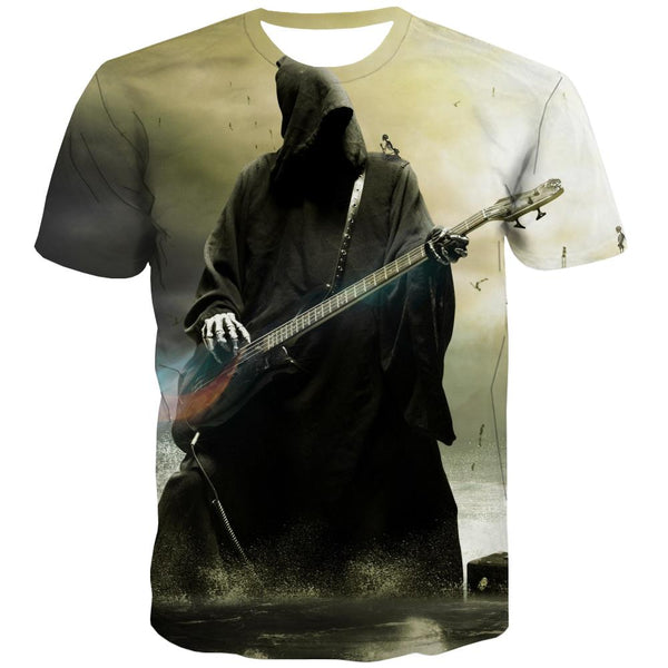 Guitar T shirts Men Music Tshirt Printed Wooden Shirt Print Metal Tshirts Cool