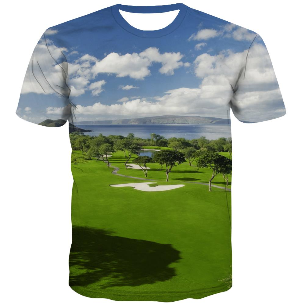 Lawn T-shirt Men Golf T shirts Funny Forest Tshirt Anime Natural Shirt Print Game T-shirts 3d