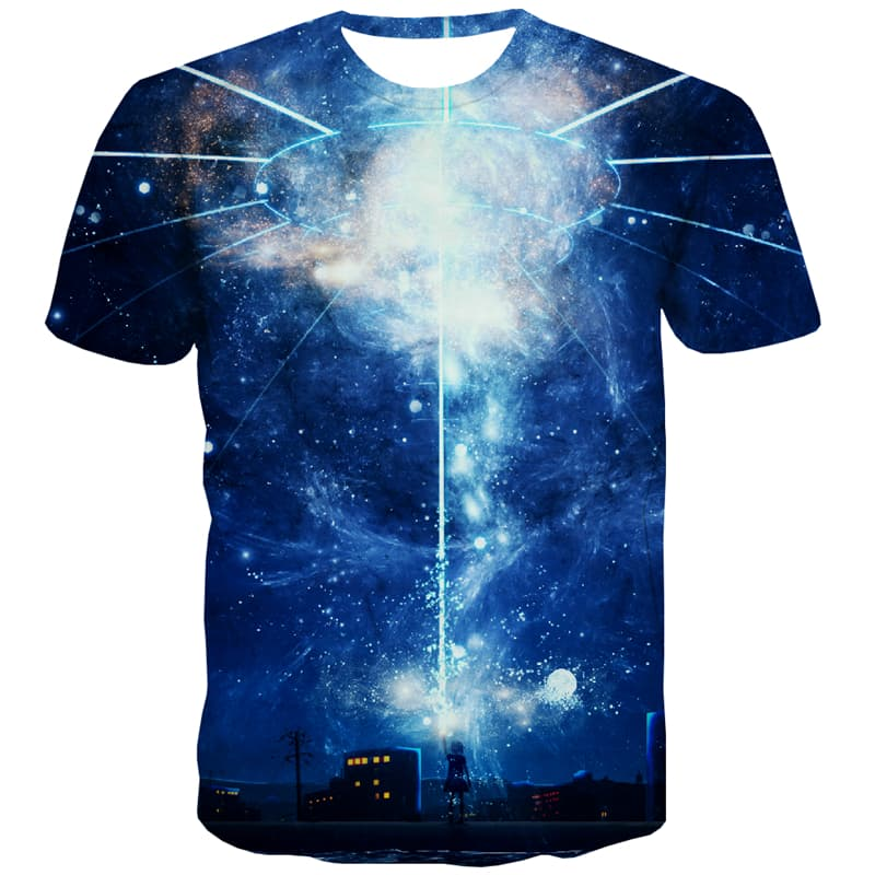 Galaxy T shirts Men Space Tshirts Novelty Universe Tshirt Anime Aurora T shirts Funny