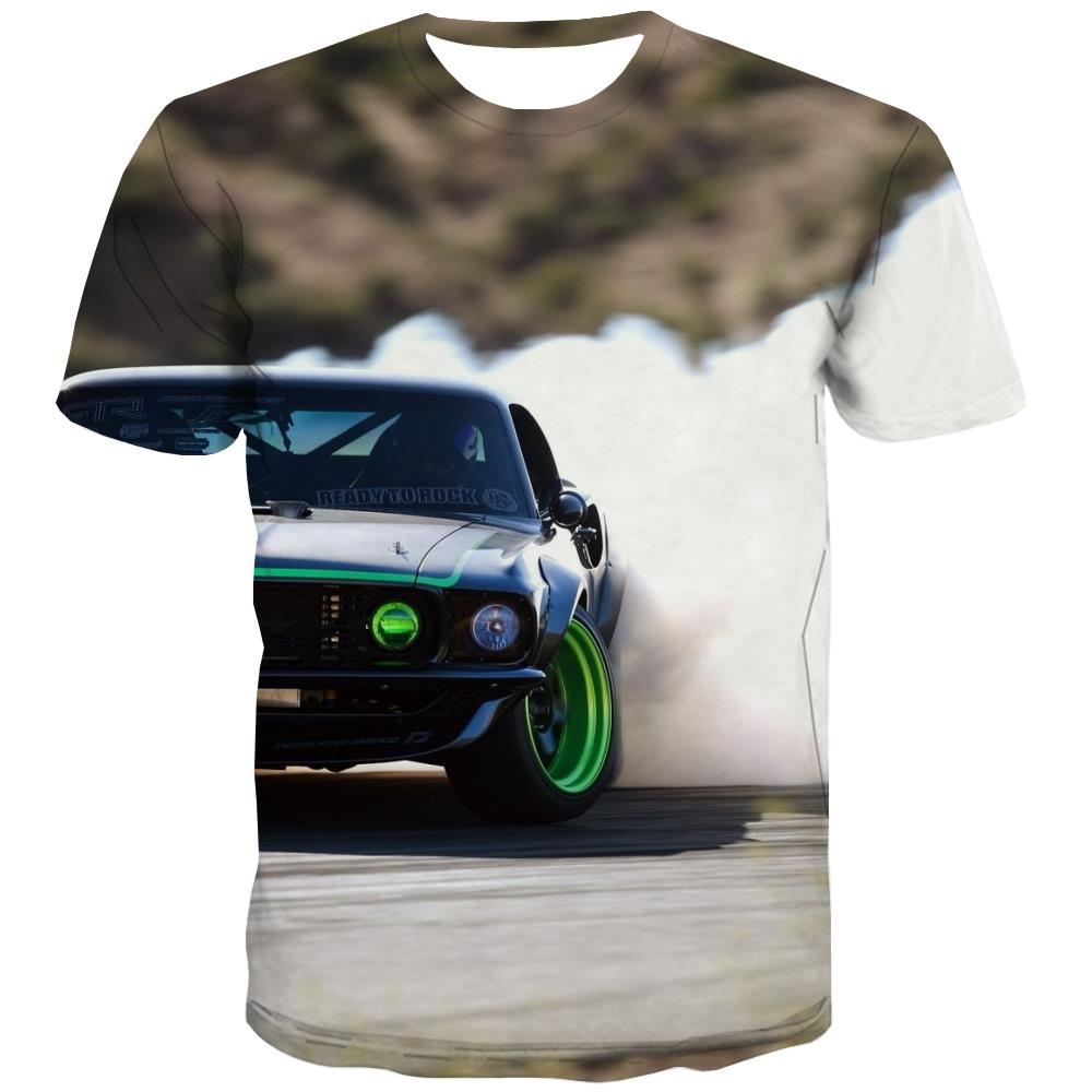 Racing Car T-shirt Men Metal Shirt Print City Tshirt Anime Gray T shirts Funny Retro Tshirts Novelty
