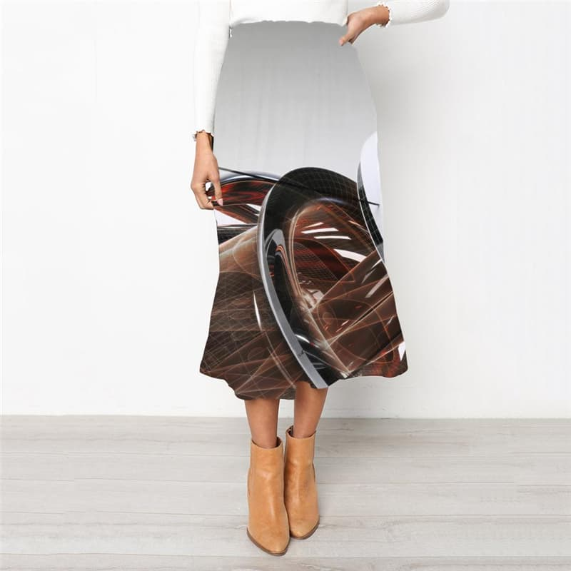 Metal Skirt Women Engine Rock Frauen Gear Skirt Ladies Art High waist skirts