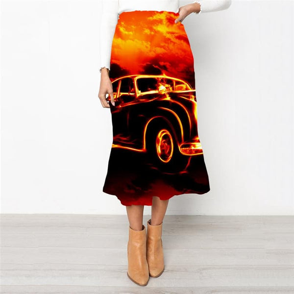 Flame Skirt Women Car Rock Frauen Hip Hop High waist skirts Womens Clothing