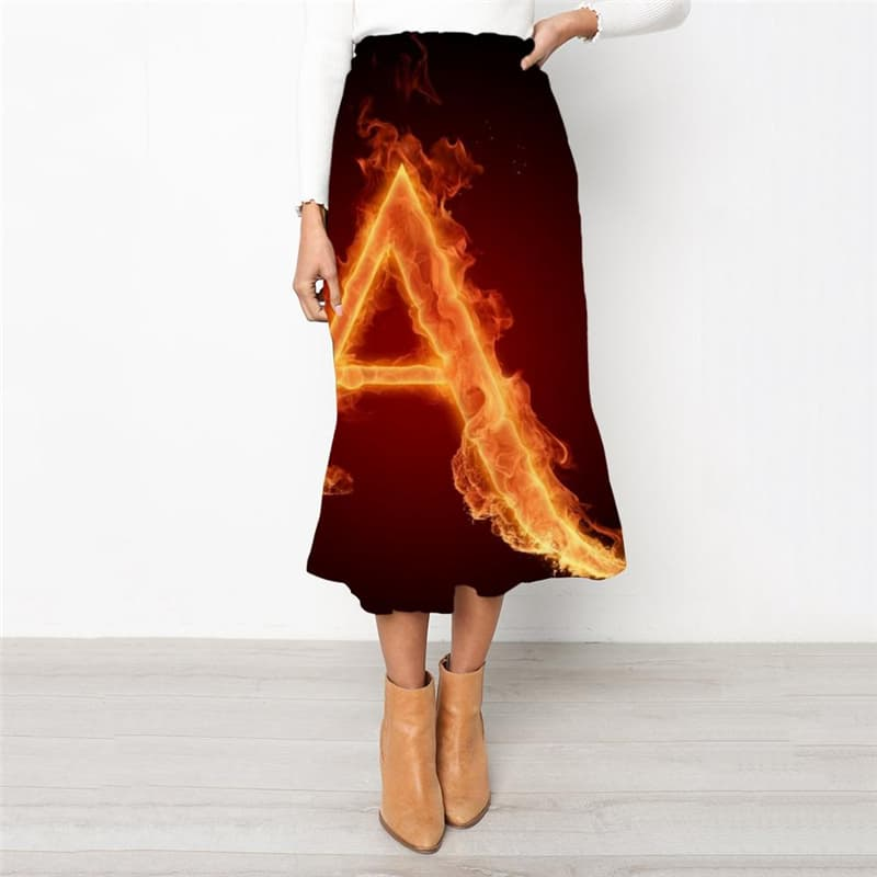 Flame Skirt Women The Letter A High waist skirts Funny Skirt Ladies