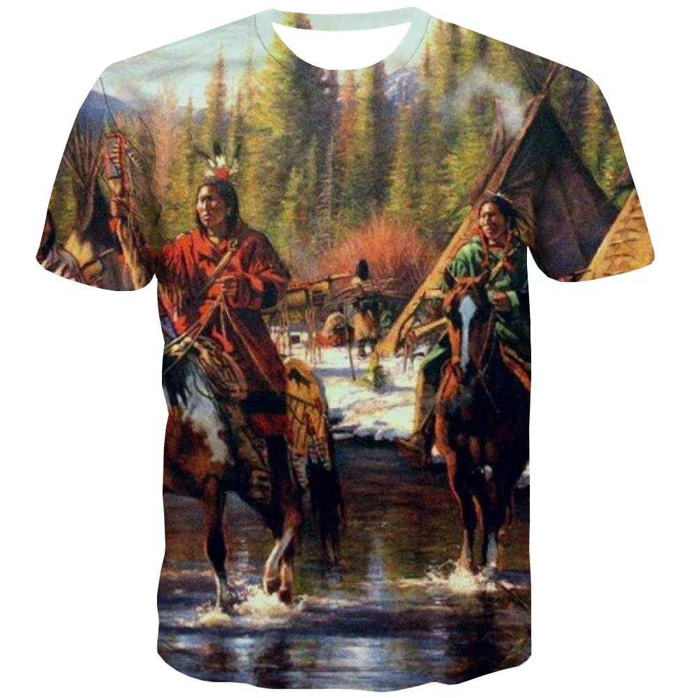 Indians T shirts Men Grassland Tshirts Cool Sunset T-shirts Graphic War Tshirt Printed