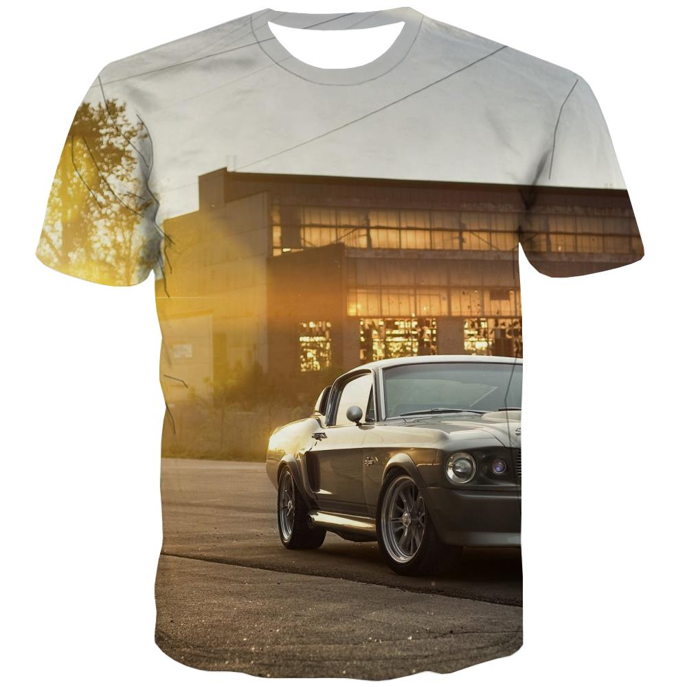 Racing Car T-shirt Men Metal Tshirts Novelty City Tshirt Printed Gray T-shirts Graphic Retro Shirt Print