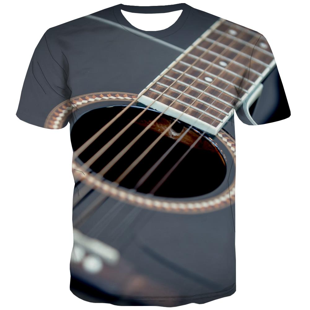 Guitar T-shirt Men Music Tshirt Anime Wooden T-shirts Graphic Metal Tshirts Cool
