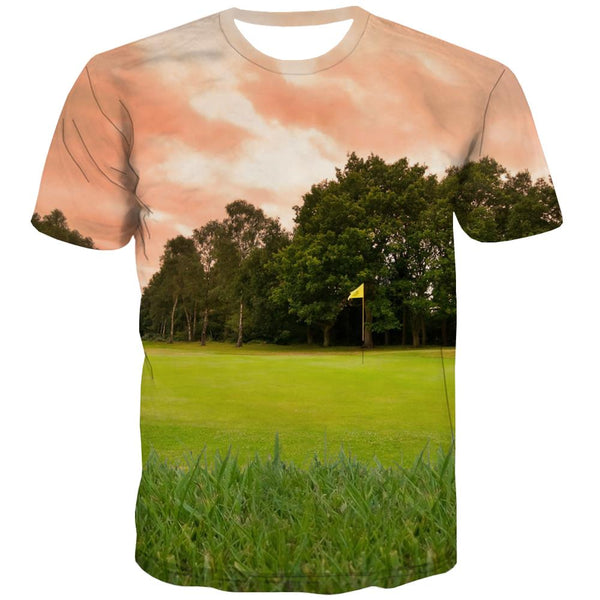 Lawn T shirts Men Golf Tshirts Casual Forest T shirts Funny Natural Tshirts Novelty Game T-shirts Graphic