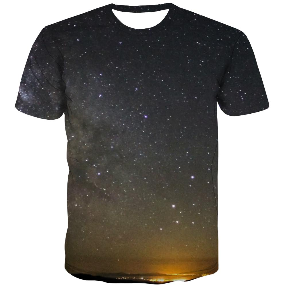 Galaxy T shirts Men Planet Shirt Print Starry Sky Tshirts Novelty Colorful T-shirts Graphic Harajuku Tshirt Anime