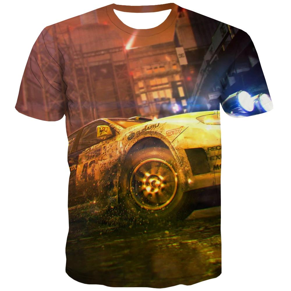 Racing Car T-shirt Men Metal Tshirts Casual City T shirts Funny Gray Tshirt Printed Retro Tshirt Anime